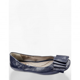 Me Too Women's Lilyana Navy Leather Flat