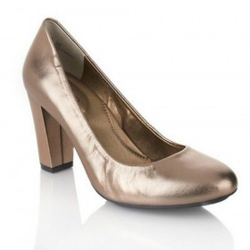 Me Too Women's Lapria Gravel Gold Leather Pump