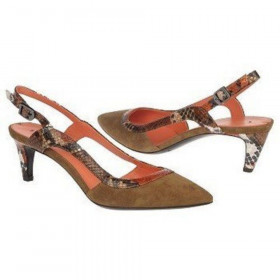 Via Spiga Womens Ally Brown Toast Suede and Leather Slingbacks