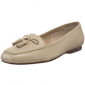 Enzo Angiolini Women's Lizzia Beige Leather Tassel Loafer Flat