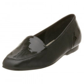 Enzo Angiolini Women's Liberty Black Patent Leather Loafer Flat