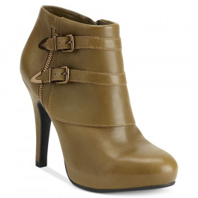 Me Too Women's Lennon Moss Khaki Leather Ankle Boot