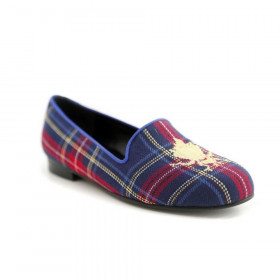 Bumbleb Navy Jon Josef Plaid Fabric Loafer Flat