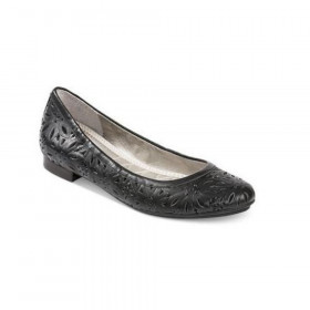 Me Too Women's Alyse Black Leather Ballerina Flat