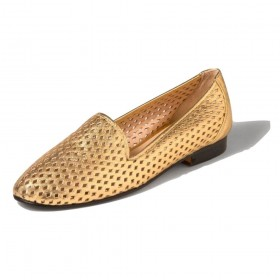 Perfor Gold Flat Jon Josef Leather Loafer Flat