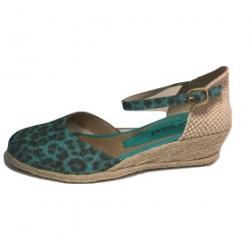 Heather Leopard Turqoise Fabric Jon Josef Wedge Espadrille Sandal