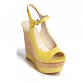 Franco Sarto Women's Safari Sunflower Yellow Patent Wedge Sandal