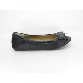 Me Too Women's Franny Pony Black Calfhair Flat