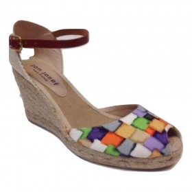 Bonny Multi Jon Josef Fabric Wedge Espadrille Sandals