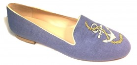 Jon Josef Women's Anchor Pique Blue Linen Smoking Loafer Flats