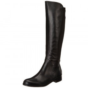 Franco Sarto Women's Marielle Black Leather and Fabric Stretch Boot