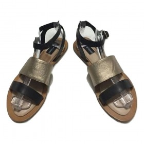 Eclipse Gravel Black Adam Tucker Flat Sandal