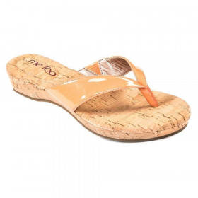 Me Too Women's Clare Vitamin Orange Patent and Cork Flip-Flop Sandal