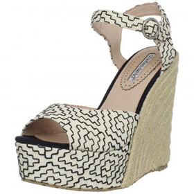 Baja White Black Charles David Wedge Espadrille Sandal