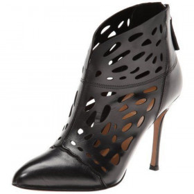 Nine West Women's Darenne Black Leather Cutout Ankle Bootie