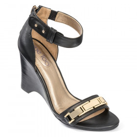 Me Too Women's Beverly Black Leather Wedge Sandal