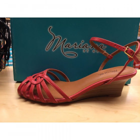 Mariana by Golc Women's Hadie Red Leather Wedge Sandal