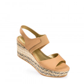 Me Too Women's Cara Driftwood Leather Wedge Sandal