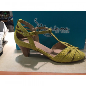 Mariana by Golc Women's Sybil Yellow SnakePrint Leather Sandal