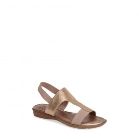 Me Too Women's Zoey Peach Leather TStrap Sandal