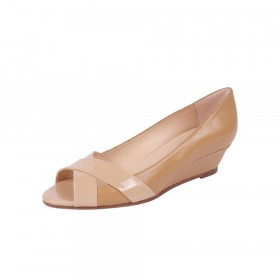 Copa Beige Jon Josef Leather Wedge Pumps