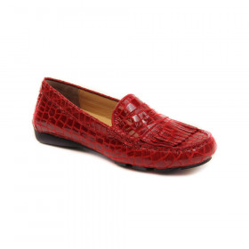VANELi Women's Ruse Red Leather Crocodile Patent Print Slip-on Loafer Flat