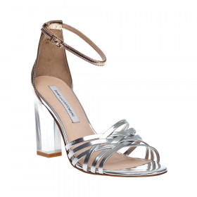 Diane Von Furstenberg Women's Priene Silver and Gold Strappy Leather Sandals DVF