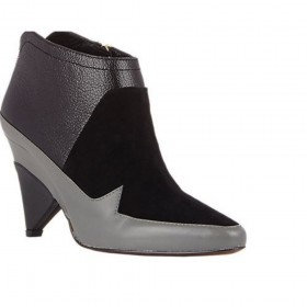 Derek Lam Womens Dae Black Suede Grey Leather Ankle Boots
