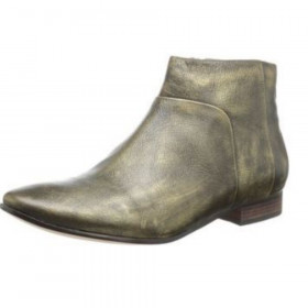 Cole Haan Womens Allen Bronze Leather Ankle Bootie