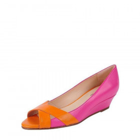 Copa Fuchsia Orange Jon Josef Leather Wedge Pumps