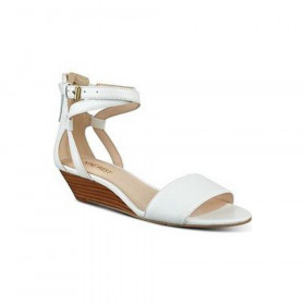 Nine West Womens Villian White Leather Wedge Sandal