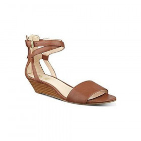 Nine West Womens Villian Cognac Leather Wedge Sandal
