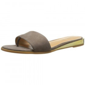 Nine West Womens Xandose Taupe Leather Slide Sandal