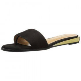 Nine West Womens Xandose Black Leather Slide Sandal