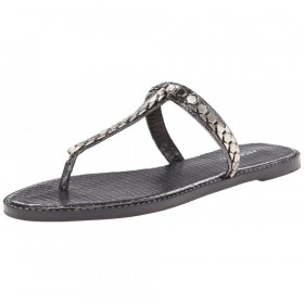 Nine West Womens Kissme Pewter Snake Thong Sandal
