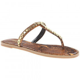 Nine West Womens Kissme Yellow Snake Thong Sandal