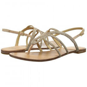 Stuart Weitzman Womens Thongsow Gold Crystal Leather Flat Sandal