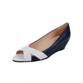 Copa Navy Jon Josef Leather Wedge Pump