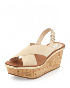 DVF Womens Maven Nude Suede Wedge Sandal