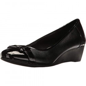 Anne Klein Sardoni Black Leather Wedge Pump