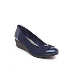 Anne Klein Women's Birta Navy Fabric Wedge Pump