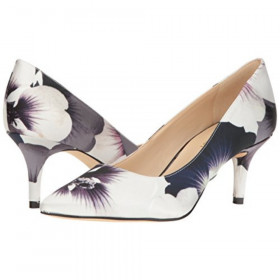 Nine West Womens Margot Black White Satin Floral Pump