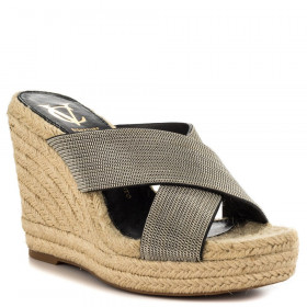 Vince Camuto Signature Womens Derika Silver Raffia Wedge Sandal