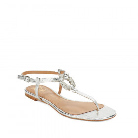 Vince Camuto Signature Womens Bolda Silver Leather Flat Sandal