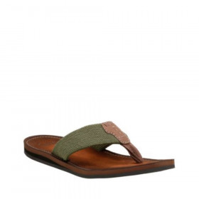 Clarks Mens Lacono Beach Olive Fabric and Leather Flip-Flop Sandal