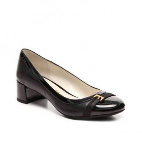 Histina Black Leather Anne Klein Low Heel Pump