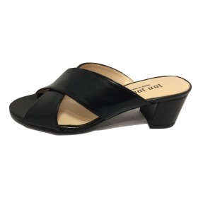 Danubio Black Jon Josef Leather Sandal Slide