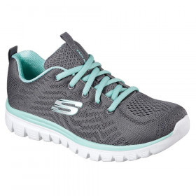12165 Get Connected Charcoal Turquoise Skechers
