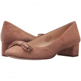 Elleah Natural Suede Nine Westt Mid Heel Pump