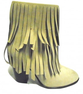 Waverly Beige Dee Keller Ankle Fringe Boot